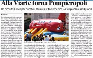 Il Piccolo 13 maggio 2015 - Alla Fieste da Viarte torna Pompieropoli