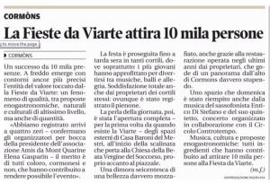 Messaggero Veneto 27 maggio 2015 - Fieste da Viarte 10000 persone